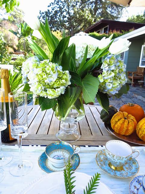 Casual outdoor fall tea setting