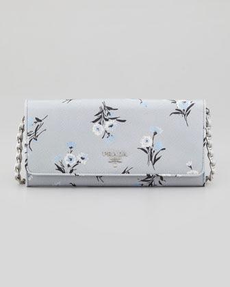 Prada Floral Saffiano Wallet on Silver Chain