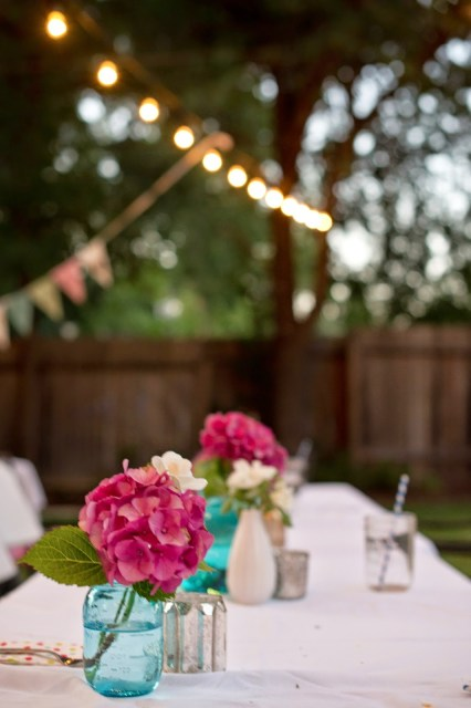 Outdoor summer party with string lights