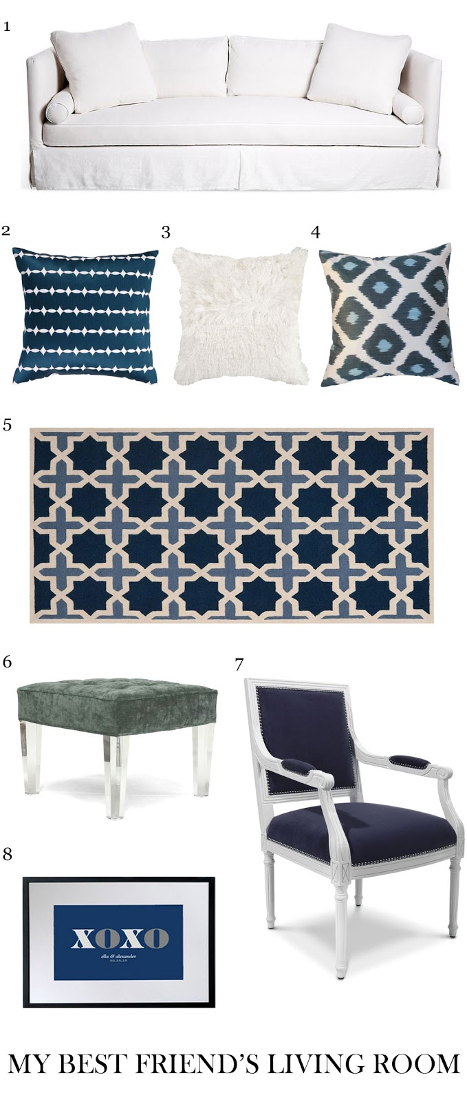 Blue and white living room in an East Hampton home recreate