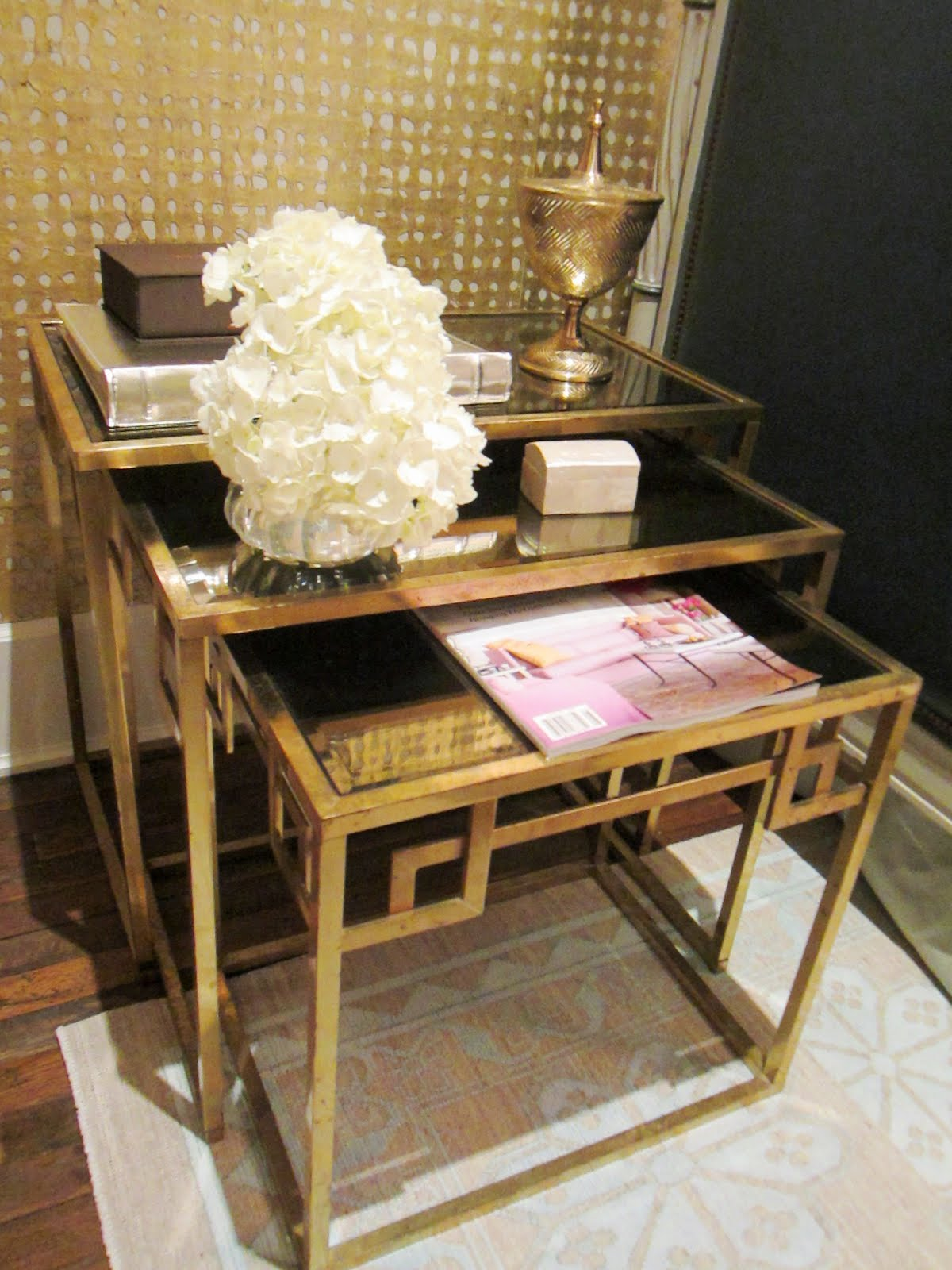 Three Gold Art Deco Inspired Nesting Tables With A Magazine, Flower  Arrangement, Wood