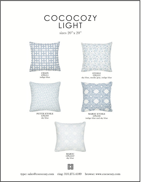 COCOCOZY Light pillow patterns in blue