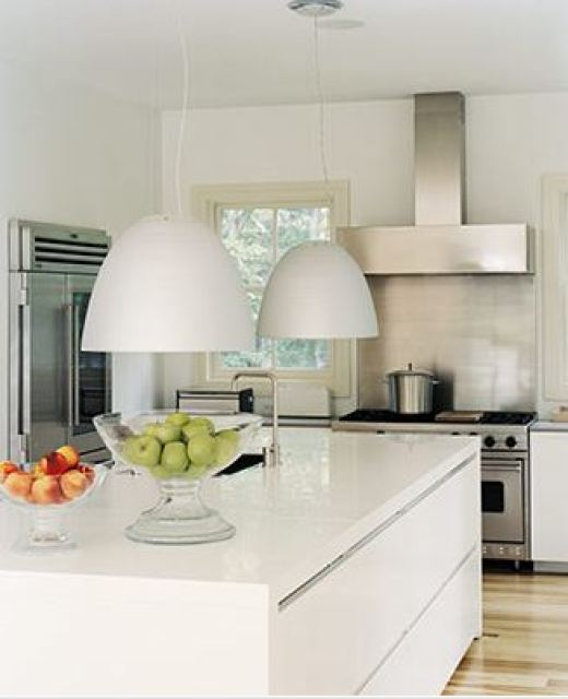 Modern White Kitchen With Island And Pendant Lights: WALL MOUNT STAINLESS RANGE