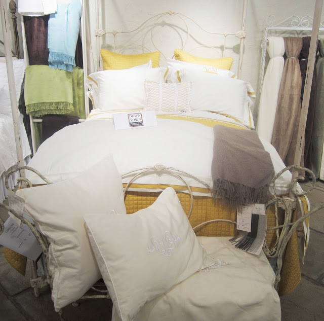 COCOCOZY Loop pillow in yellow on white, yellow and mustard bedding from the Downtown Company