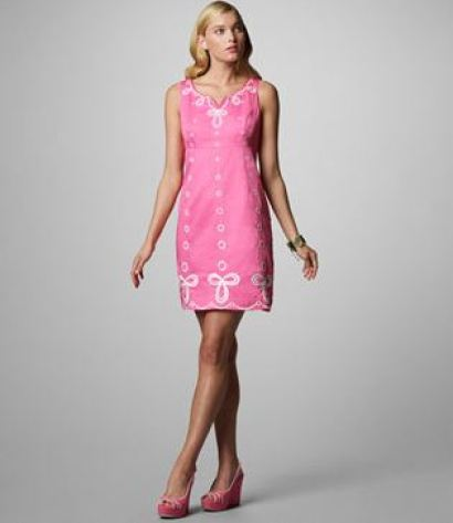 Pink shift dress with white detailing by Lilly Pulitzer