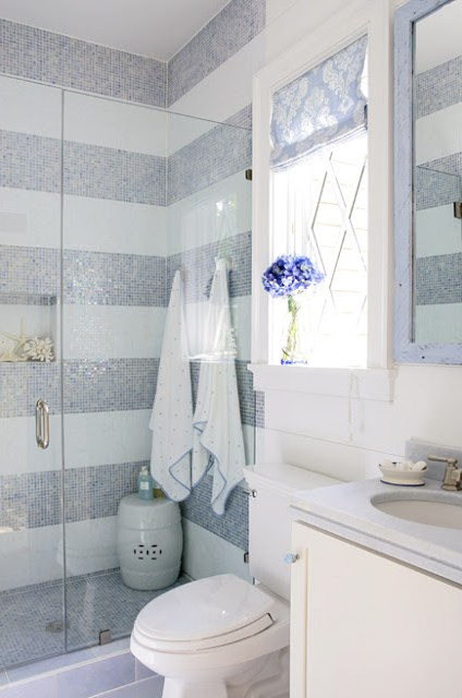 Bathroom with blue and white striped tiling on the walls