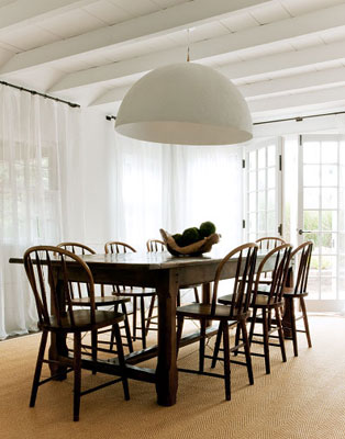 marie christineu0027s cottage dining room with bentwood chairs oversize dome pendant light french doors & TREND ALERT: GO BIG OR GO HOME - HUGE DINING ROOM PENDANT LIGHTS ... azcodes.com