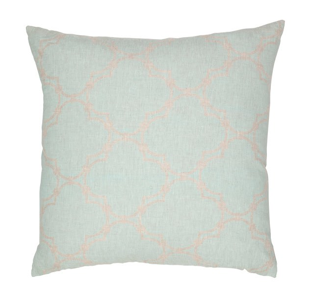 COCOCOZY Quatrefoil Reverse Natural Linen Pillow Cover in Sea Foam