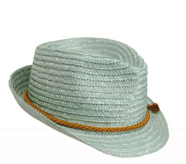 light blue straw hat with woven band