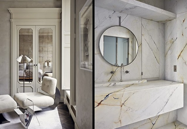 Details in a master bedroom and bathroom by Joseph Dirand
