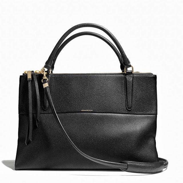 Black Coach Borough Bag in Black Pebbled Leather