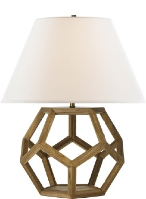 lamp with wooden dodecahedron base