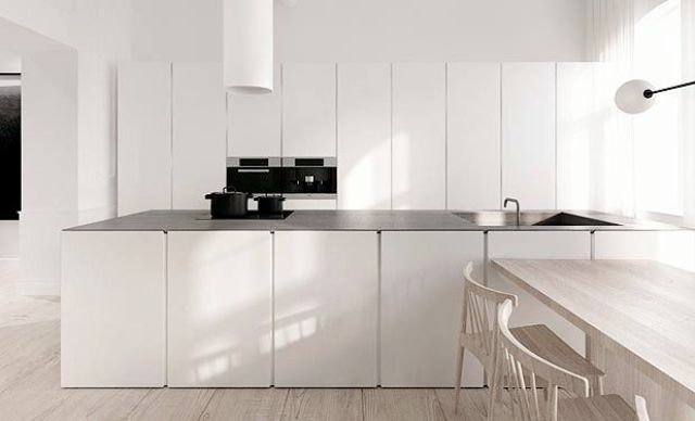 modern all white kitchen black counter countertops cabinet doors island open decor design floor plan