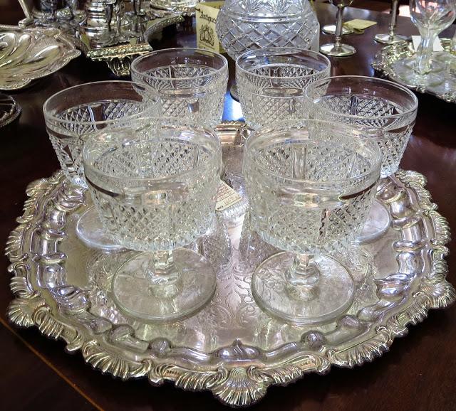 Vintage rock cut stemware glasses in Charleston, South Carolina