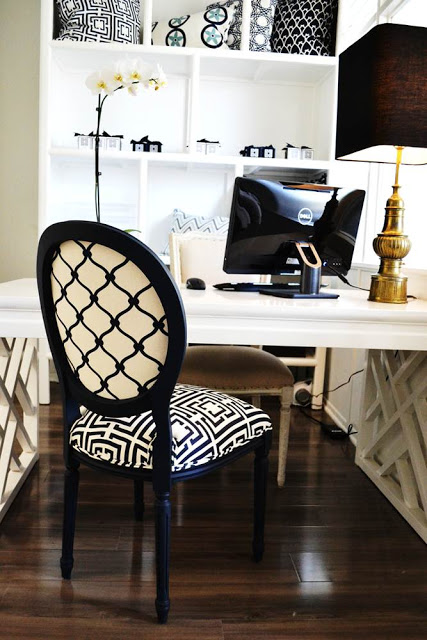 COCOCOZY HQ office space with a vintage brass Stiffel lamp sitting on a White Laquer Fertwork Parsons Desk, navy Louis chair with COCOCOZY Logo linen on the front and COCOCOZY Fence in navy on the back
