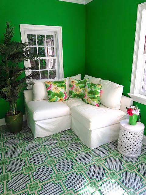 kelly green garden room painted wood tile floors