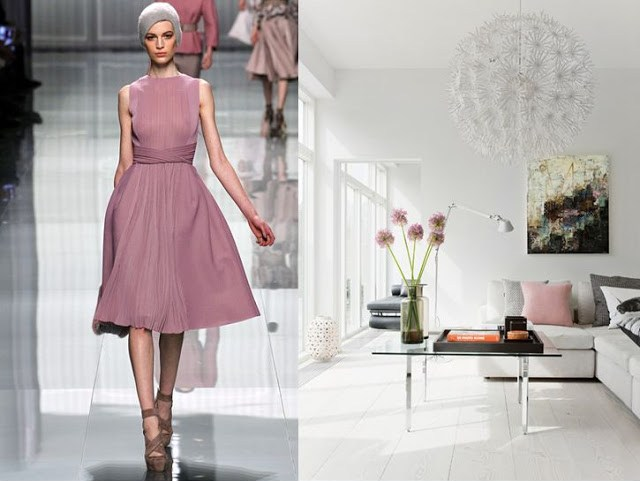 On the left there is a model from Christian Dior's Fall 2012 Ready to Wear runway show. On the left there is an image of close up of a living room by bo bedre with a light gray sofa with black and white check pillows, a pink pillow and a white pillow with a large fly printed on it, a glass coffee table and a hanging flower light