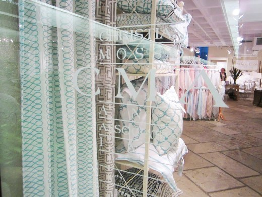 COCOCOZY textiles in the Christian Mosso & Associaties showroom window