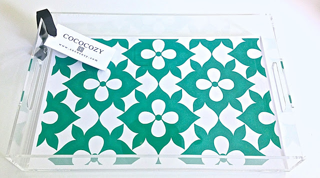COCOCOZY Lucite Tray Coco's Flower Kelly Green home accessory