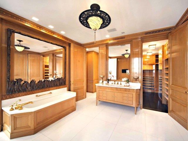 Wood paneled bathroom