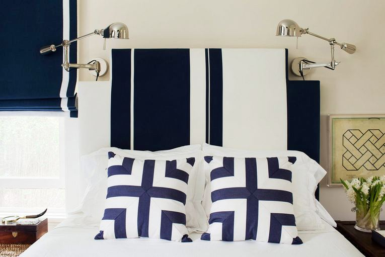 Detail Photo Of A Bedroom Designed By Amanda Nisbet With Blue And White  Pillows On A