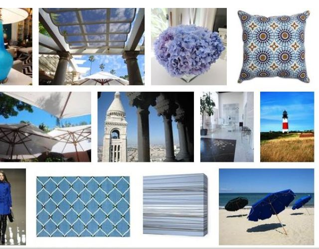 COCOCOZY summer style board with a focus on shades of blue