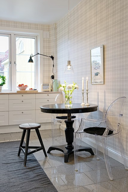 small modern eat in kitchen with plaid walls, louis ghost chairs, round table, white cabinets and a three-legged stool