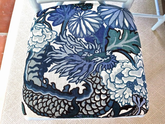 Chiang Mai Dragon fabric from Schumacher China Blue on seat cushion