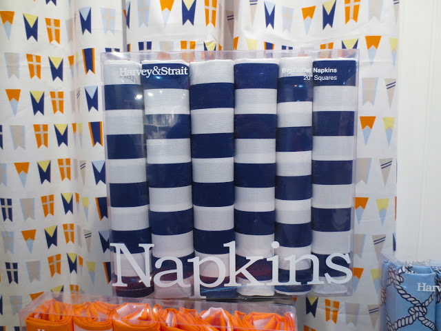 blue and white stacked napkins