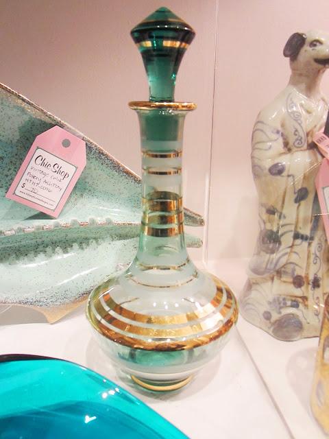 gold banded blue glass carafe