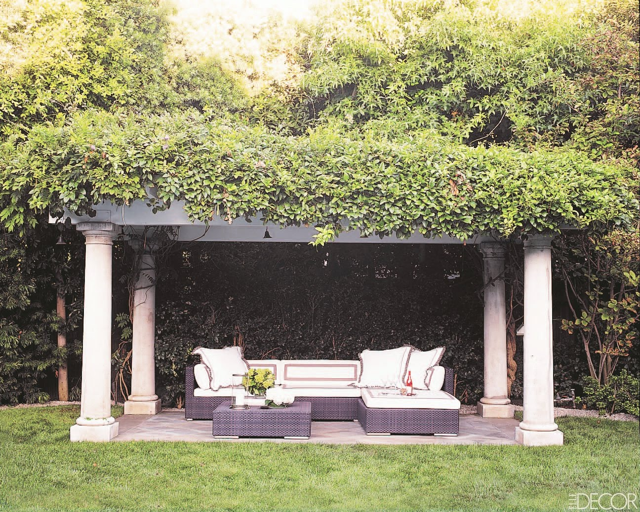 Romance In The Gardenu2026an Arbor Made Up Of Doric Columns And Lots Of  Vines With A