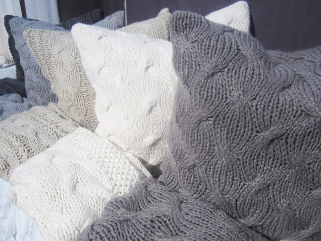Close up of Pom Pom at Home's oversized cable knit pillows