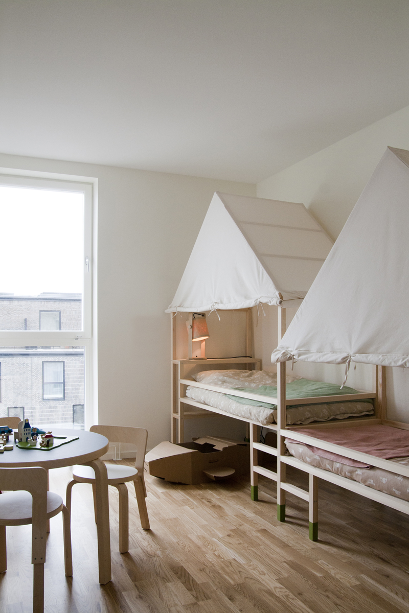 Unique adorable kids room with bunk beds and canopies