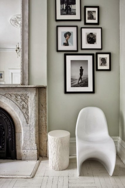 Living room vignette with white Panton chair