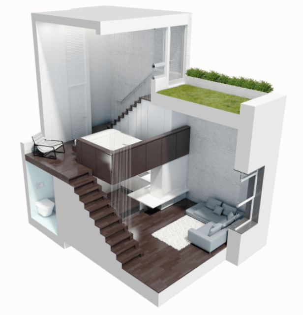 small multilevel apartment design