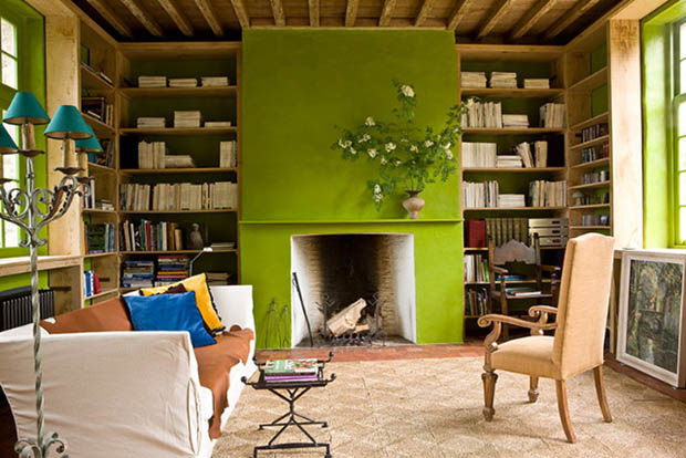 Living Room With Chartreuse Painted Fireplace, Chartreuse Trimmed Windows,  The Back Of The Bookcases