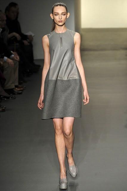 model wearing a grey dress from Calvin Klein's Fall Ready to Wear 2011