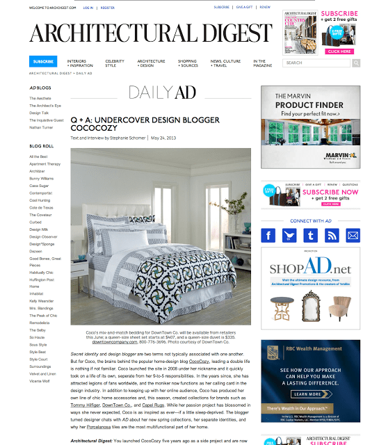 architectural digest website cococozy article feature story press