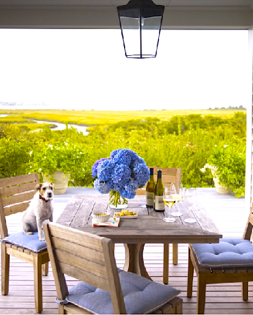 Al fresco outdoor dining with teak furniture, a beautiful view and a dog