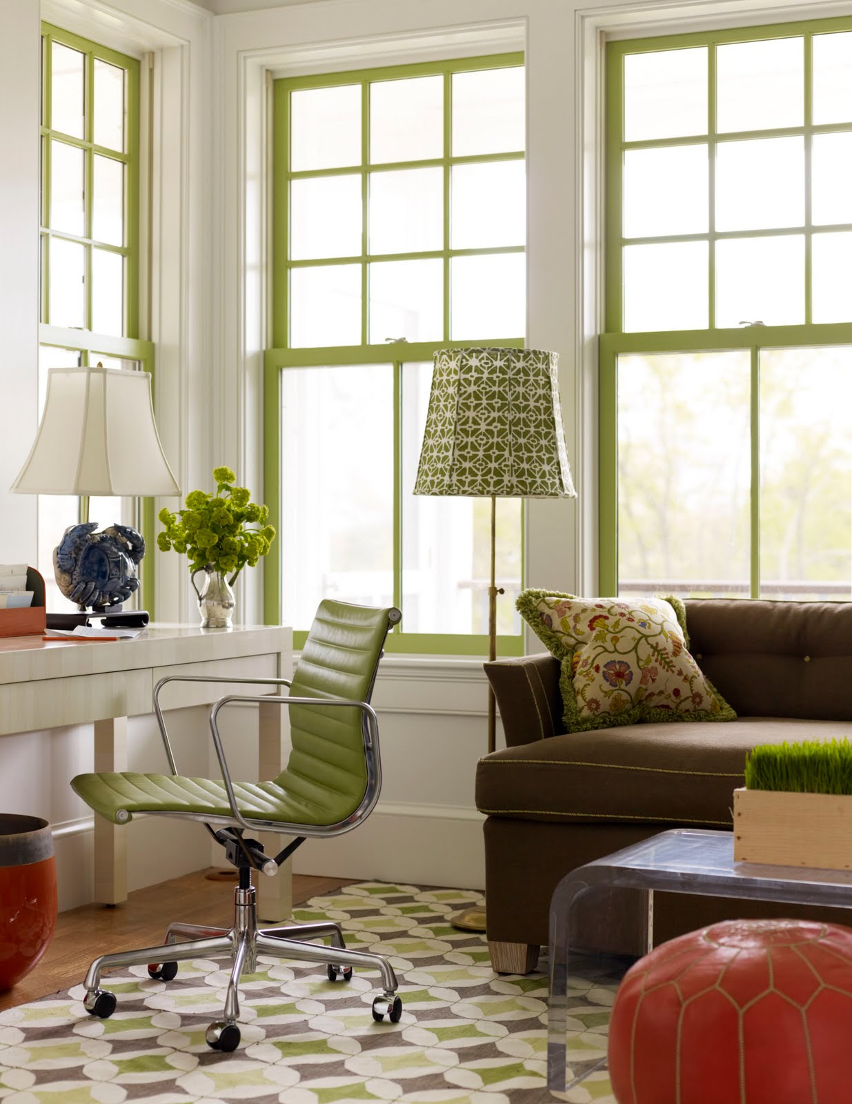home office with a brown sofa with chartreuse piping a white desk with a metal black white home office cococozy 5