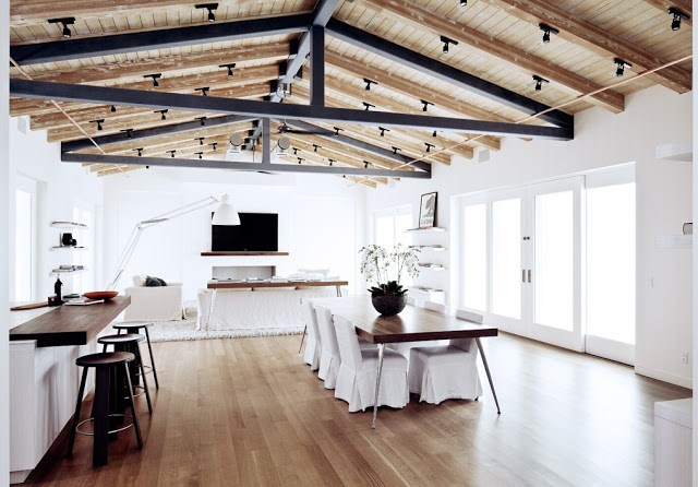 Interior Malibu canyon home real estate listing exposed beams pitched ceilings white decor furnishings California
