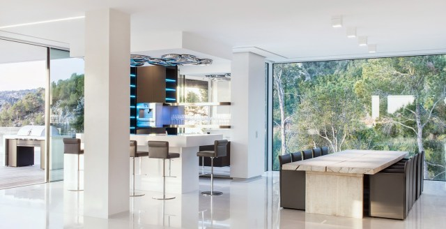 open floor plan dining room kitchen villa chameleon
