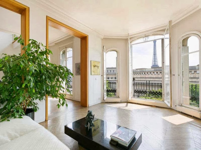 View of the Eiffel Tower from a Paris apartment