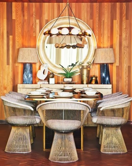 Kelly Wearstler wood panel dining room Platner chairs