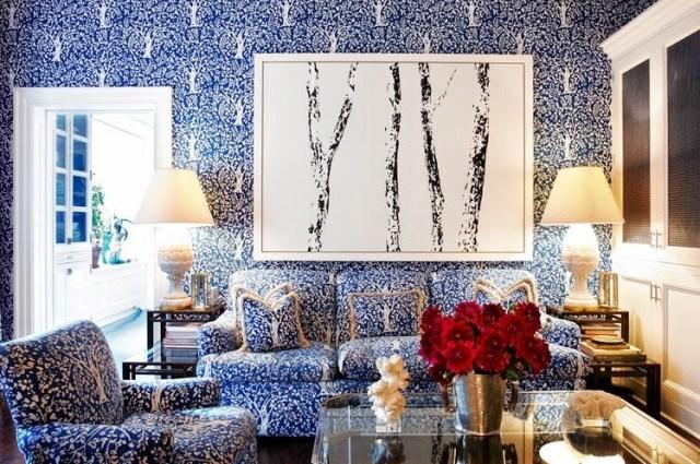 tory burch den new york city apartment blue print walls