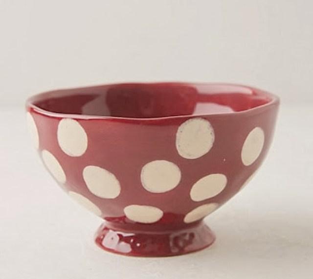 Red and white polka dot bowl