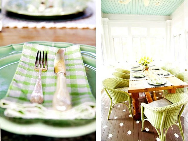 gingham napkins as part of an outdoor patio dining set