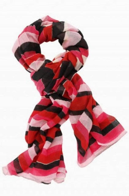 Red, pink, and brown striped scarf