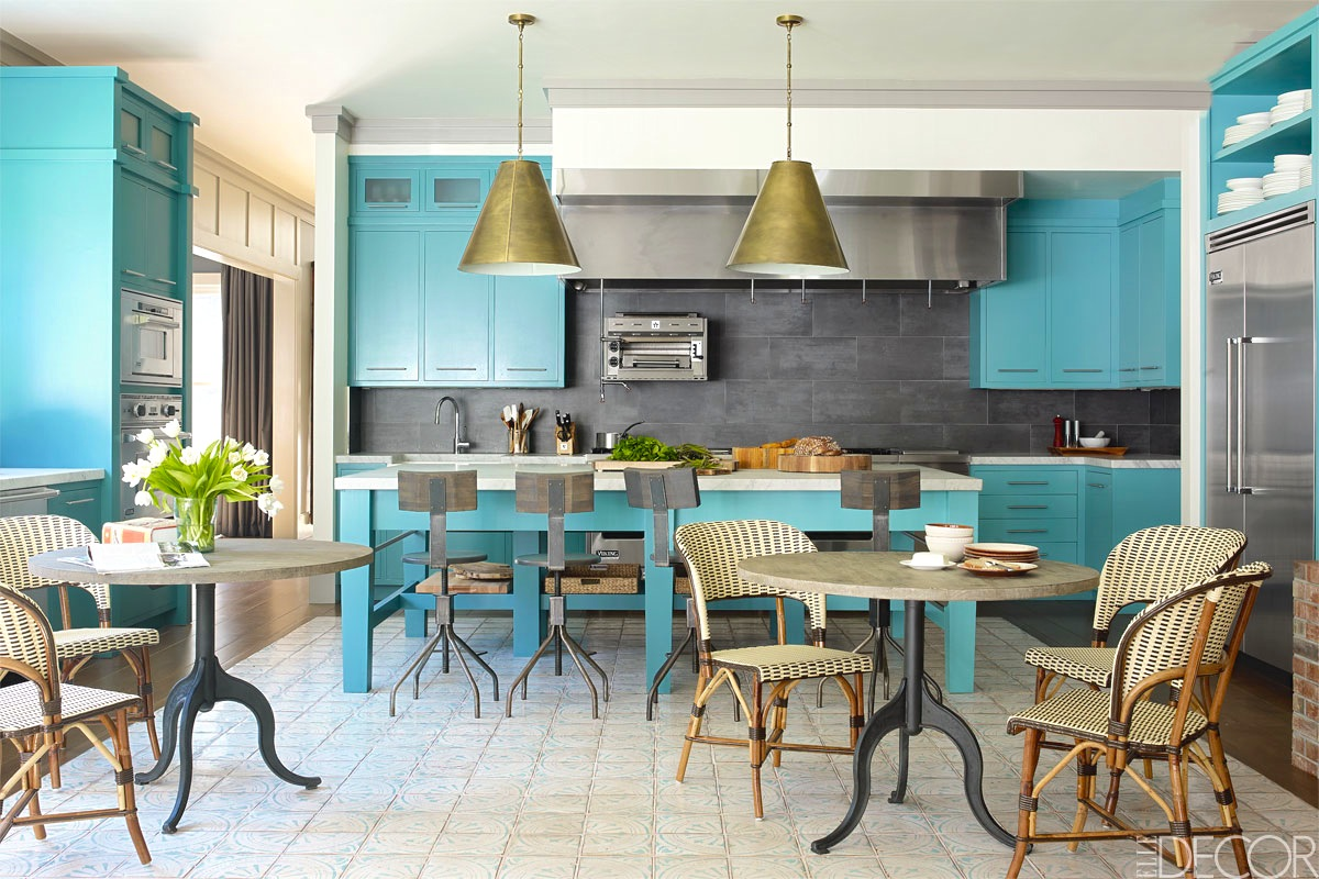 taste test celebrity chefs kitchen bath turquoise kitchen chairs Bobby Flay celebrity turquoise kitchen grey backsplash pendant light