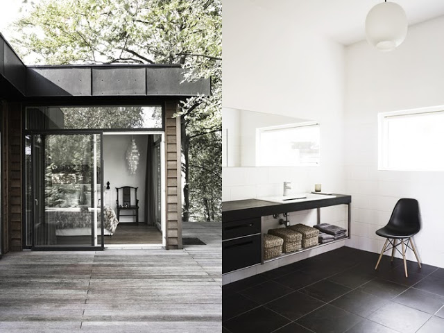 Outdoor patio and bathroom in a simple, modern Danish home
